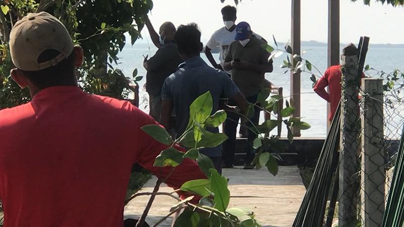 Transporting mangrove saplings to the jetty Arinma GMSL